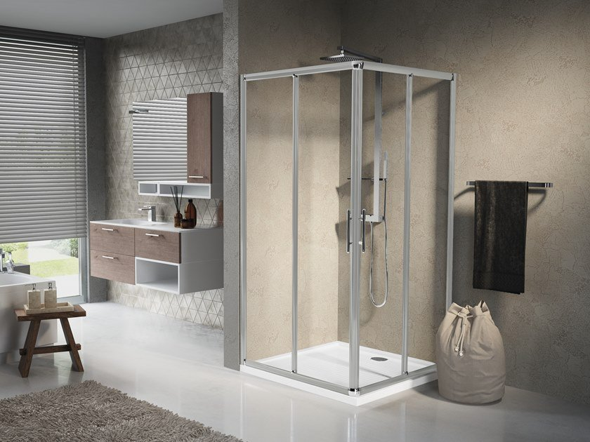 Corner shower cabin with sliding door LUNES A by NOVELLINI