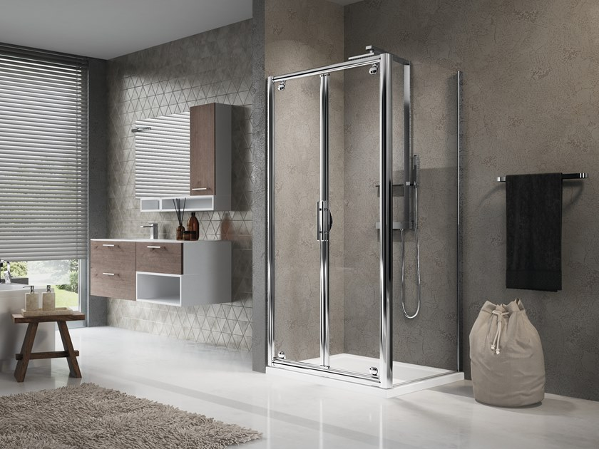 Corner shower cabin with hinged door LUNES B+F by NOVELLINI