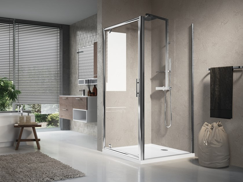 Corner shower cabin with hinged door LUNES F by NOVELLINI