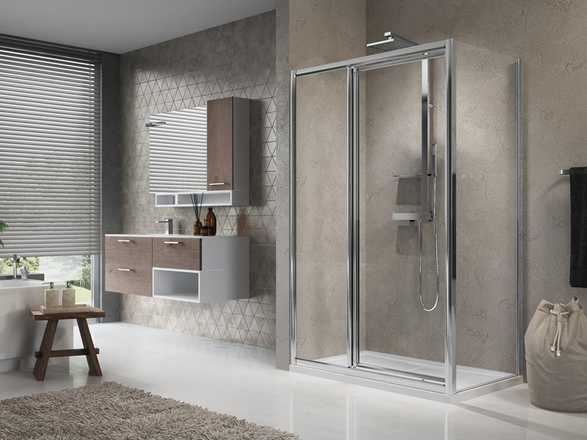 Corner shower cabin with hinged door LUNES G+F IN LINE +F by NOVELLINI