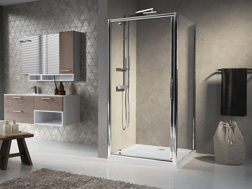 Corner shower cabin with hinged door LUNES G+F by NOVELLINI