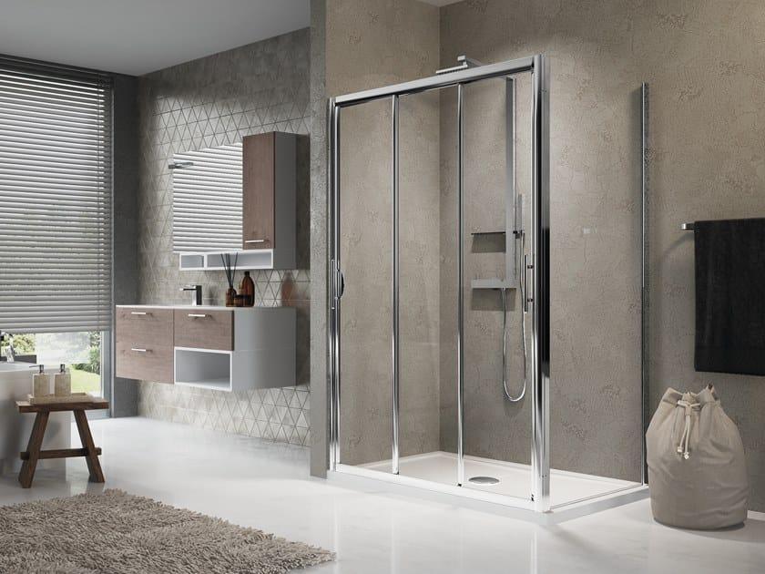 Corner shower cabin with sliding door LUNES 3P+F by NOVELLINI