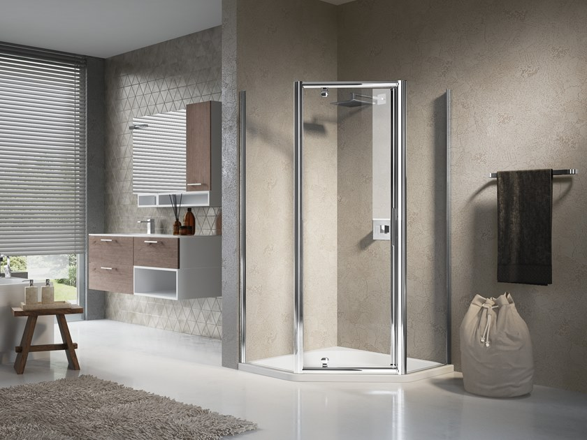 Corner shower cabin with hinged door LUNES PENTAGONO G by NOVELLINI