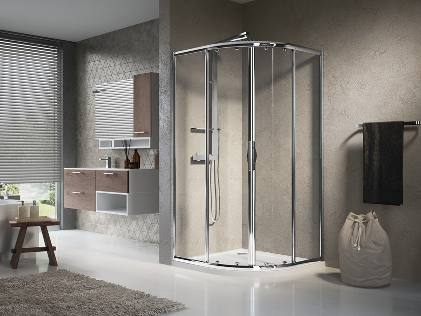 Semicircular shower cabin with sliding door LUNES R by NOVELLINI