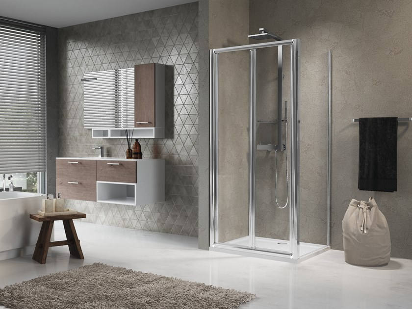 Corner shower cabin with folding door LUNES S+F by NOVELLINI