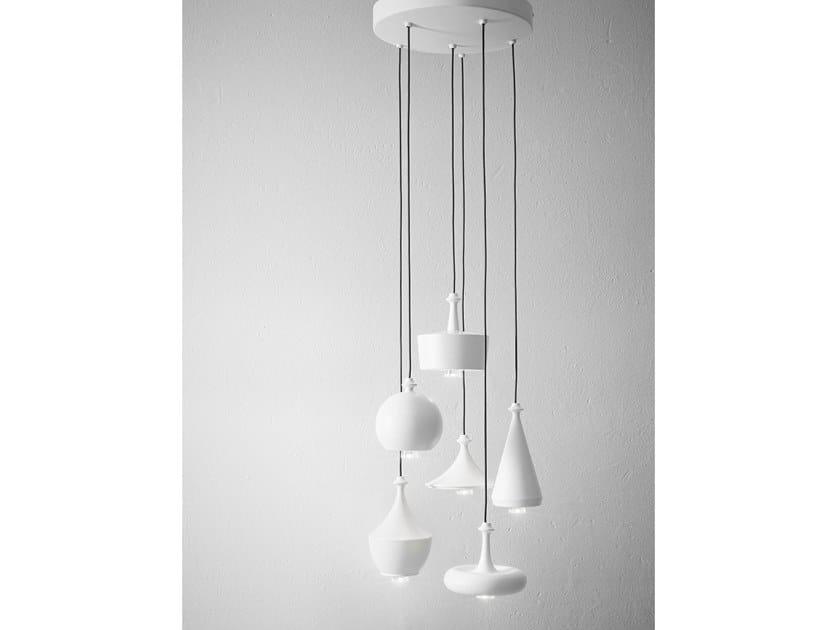 Lampada a sospensione in ceramica LUSTRINI - ROSONE MULTIPLO CIRCOLARE by Aldo Bernardi