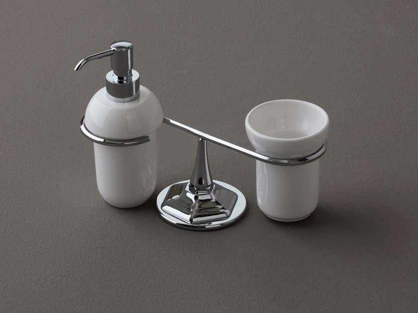 Ceramic liquid soap dispenser / toothbrush holder LUX | Ceramic toothbrush holder by BLEU PROVENCE