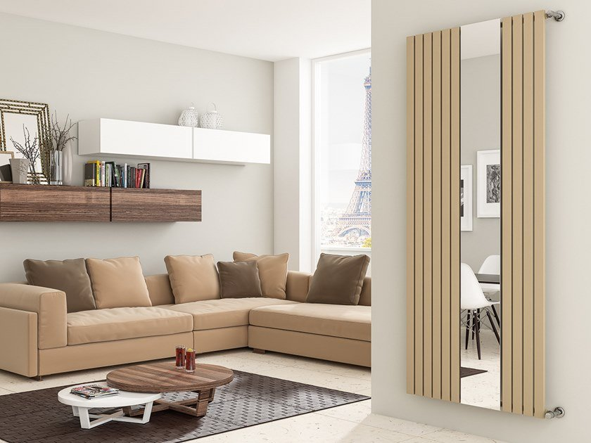 Vertical wall-mounted glass and steel decorative radiator LUXOR RFX by XÒ by Metalform