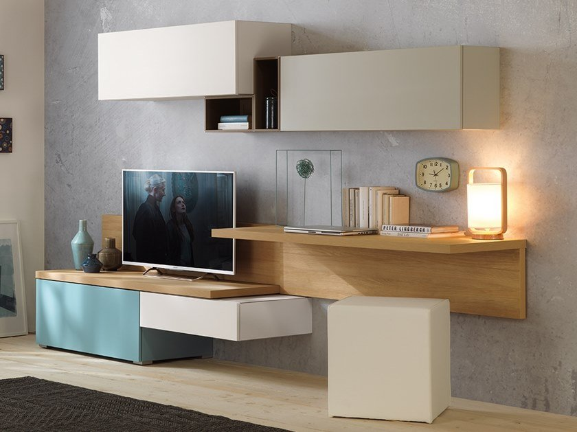 Wall-mounted wooden storage wall LV107   Storage wall by Moretti Compact