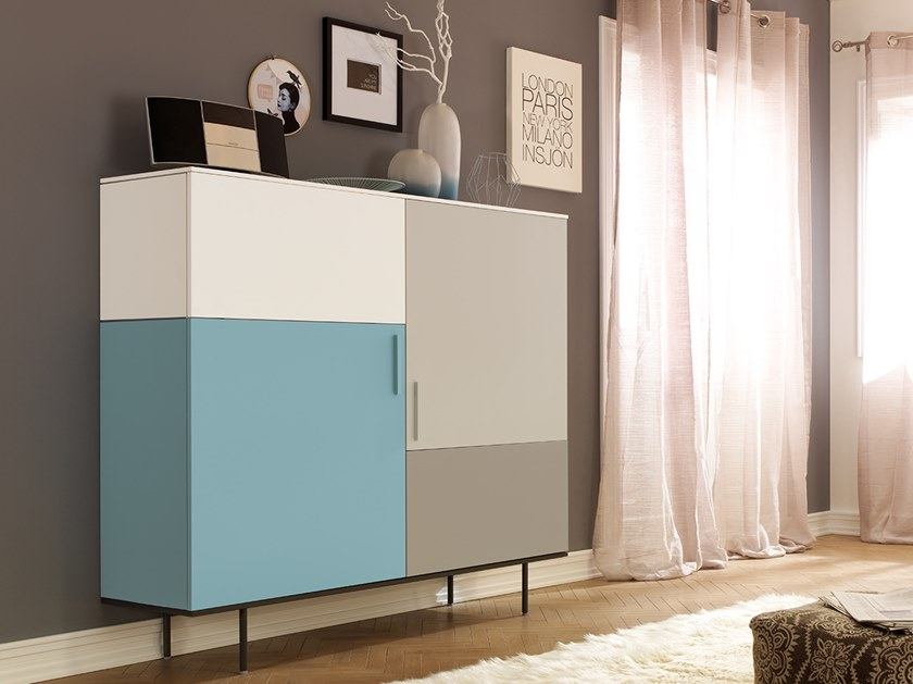 Lacquered highboard with doors LV205 | Highboard by Moretti Compact