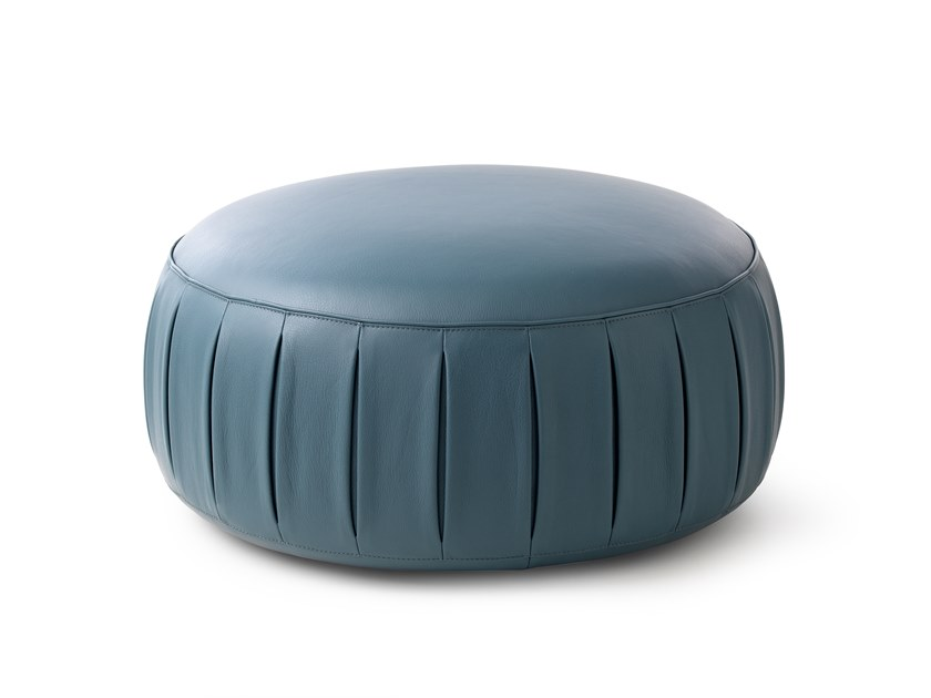 Round leather pouf with casters LX649 | Leather pouf by LEOLUX LX