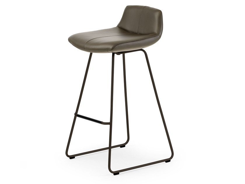 Upholstered sled base leather stool LX659 by LEOLUX LX