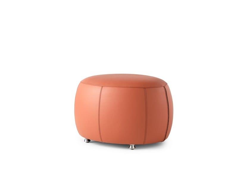 Upholstered round leather pouf LX99P | Pouf by LEOLUX LX