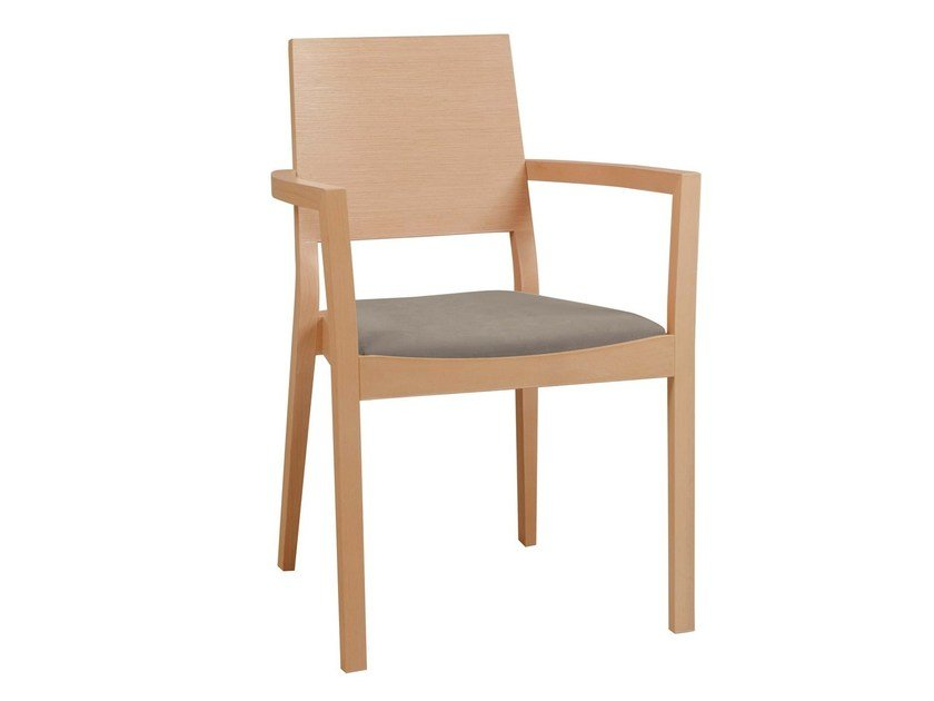Wooden chair with armrests with integrated cushion LYON 516 | Chair with armrests by TON