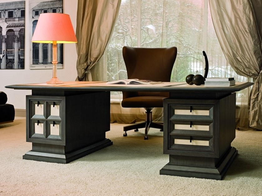 Sectional rectangular wooden writing desk M 1463 | Writing desk by Annibale Colombo