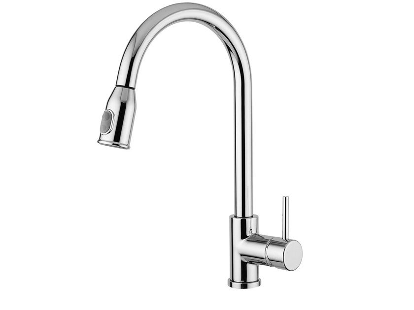 Single handle kitchen mixer tap with pull out spray FUTURO  - F6573 by Rubinetteria Giulini
