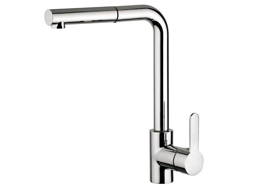 Single handle kitchen mixer tap with pull out spray FUTURO - F6576 by Rubinetteria Giulini