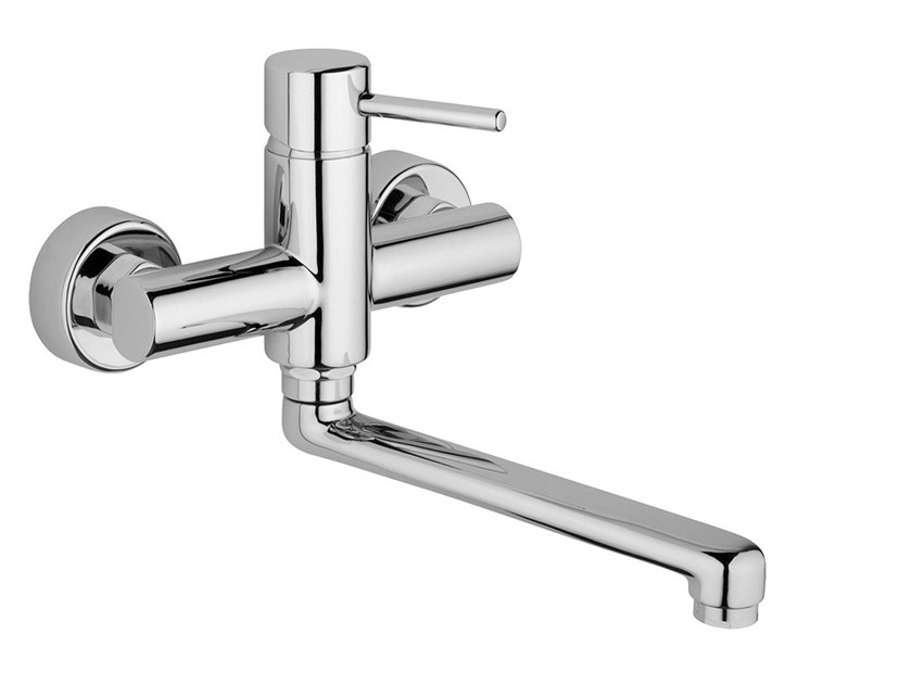2 hole wall-mounted kitchen mixer tap with swivel spout FUTURO - F6502 by Rubinetteria Giulini