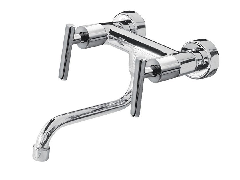 2 hole wall-mounted kitchen mixer tap with swivel spout G4 - F7702 by Rubinetteria Giulini