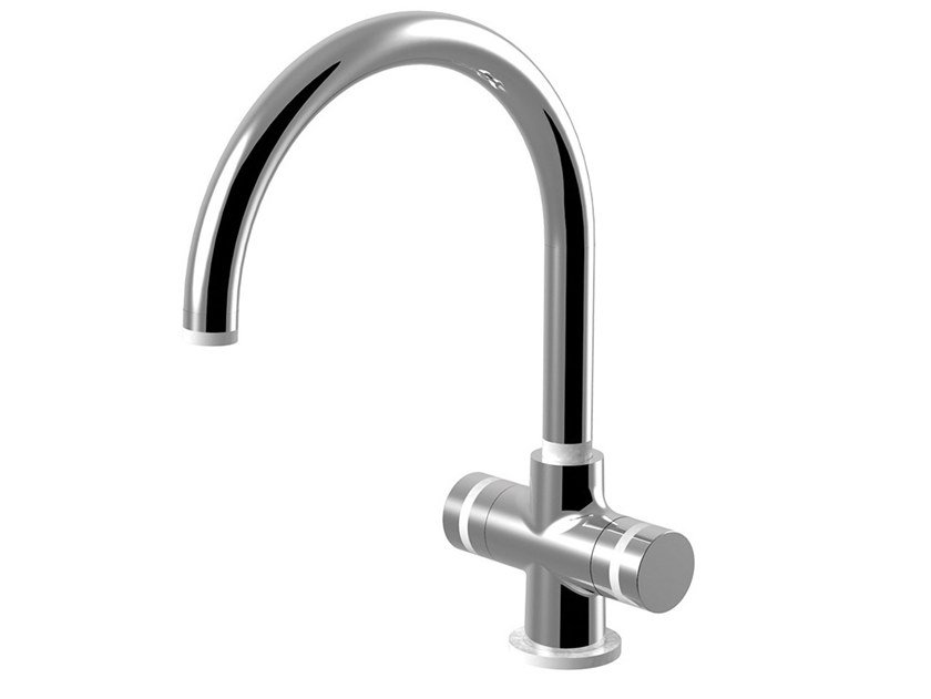 Countertop kitchen mixer tap with swivel spout MYRING - FMR0151 by Rubinetteria Giulini