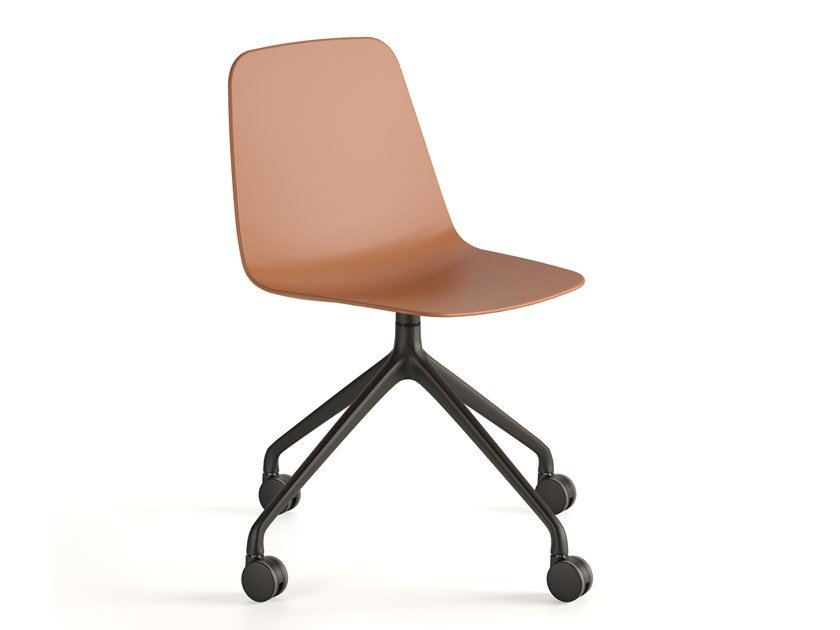 Trestle-based polypropylene chair with castors MAARTEN PLASTIC | Chair with castors by Viccarbe