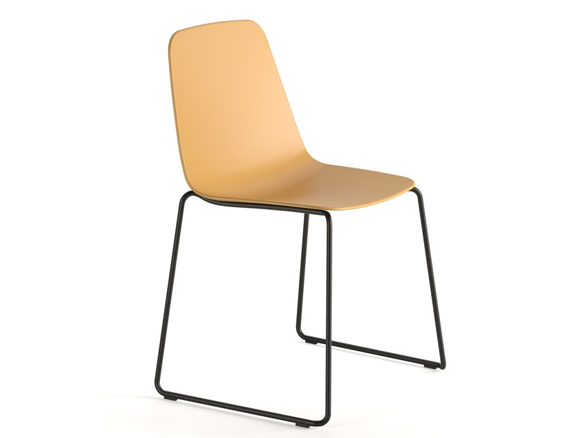 Sled base stackable polypropylene chair MAARTEN PLASTIC | Sled base chair by Viccarbe