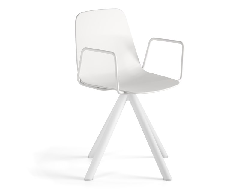 Swivel polypropylene chair with armrests MAARTEN PLASTIC | Swivel chair by Viccarbe