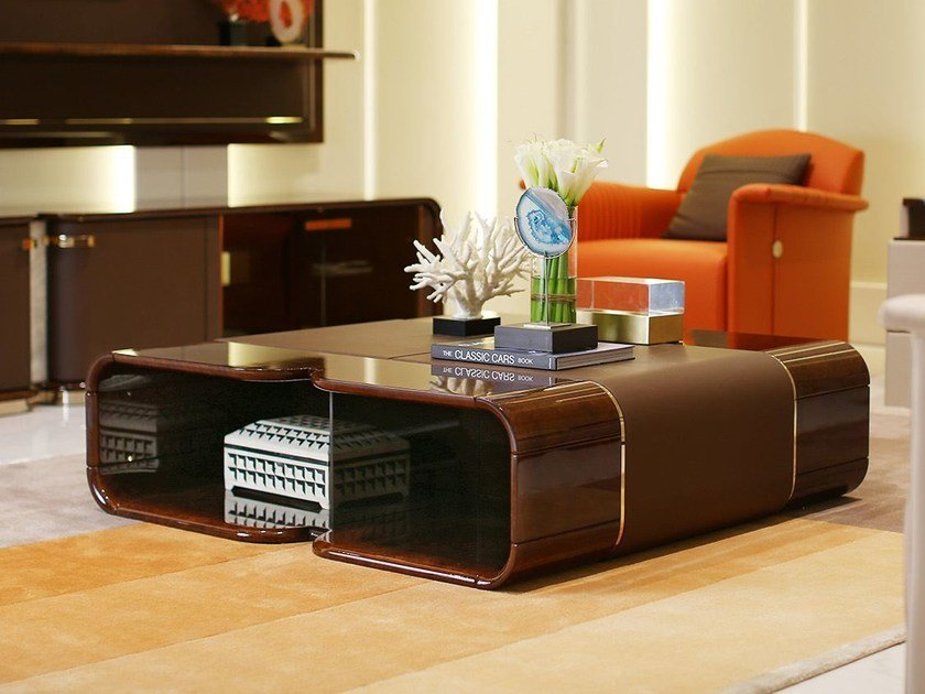 Low Square Wooden Coffee Table MADISON | Square Coffee Table By Turri