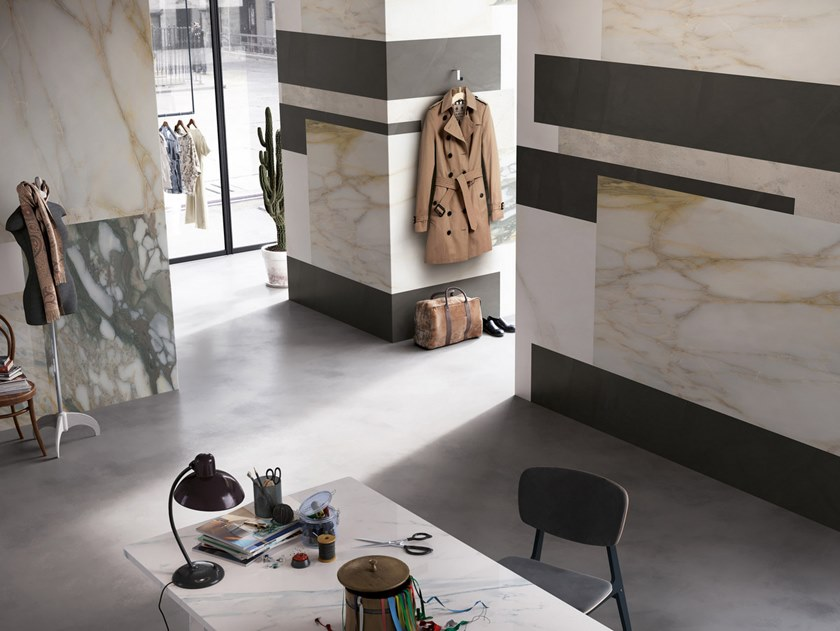 Nonwoven wallpaper with marble effect MADISON SQUARE by Tecnografica Italian Wallcoverings