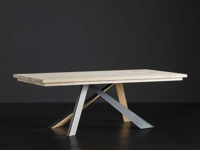 Rectangular wooden dining table MADRID + METAL/LEGNO by AltaCorte
