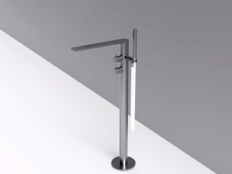 Floor standing stainless steel bathtub mixer with hand shower MAE | Floor standing bathtub mixer by Rexa Design
