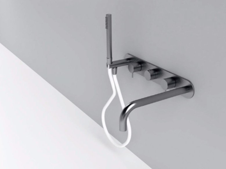 Wall-mounted thermostatic stainless steel bathtub mixer with hand shower MAE | Wall-mounted bathtub mixer by Rexa Design