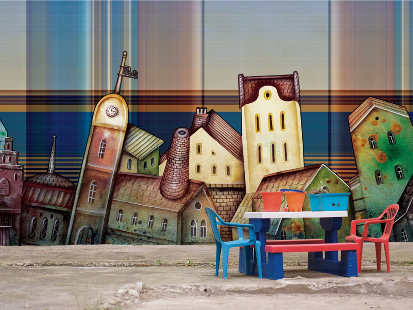 Panoramic landscape wallpaper MAGIC VILLAGE by Inkiostro Bianco