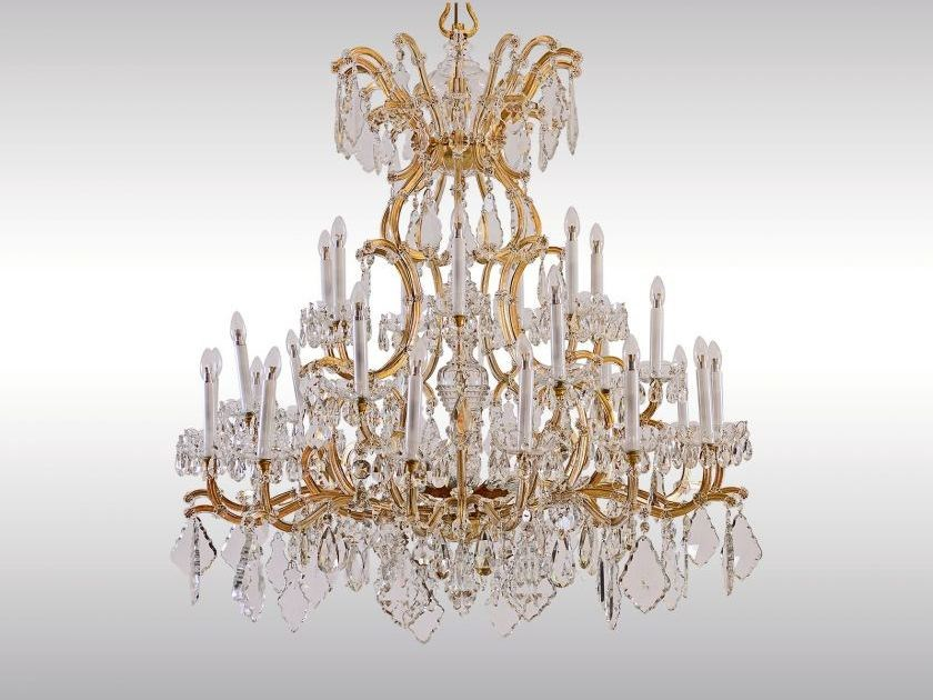 Classic style glass and iron chandelier MAGNIFICENT LOBMEYR CHANDELIER by Woka Lamps Vienna