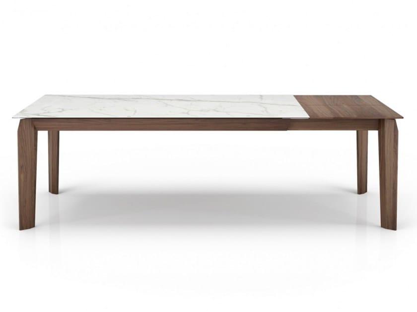 Extending rectangular walnut and glass ceramic table MAGNOLIA | Extending table by Huppé