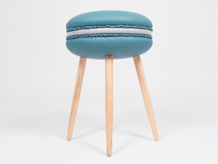 Low upholstered imitation leather stool MAKASTOOL CELESTE S by LI VING