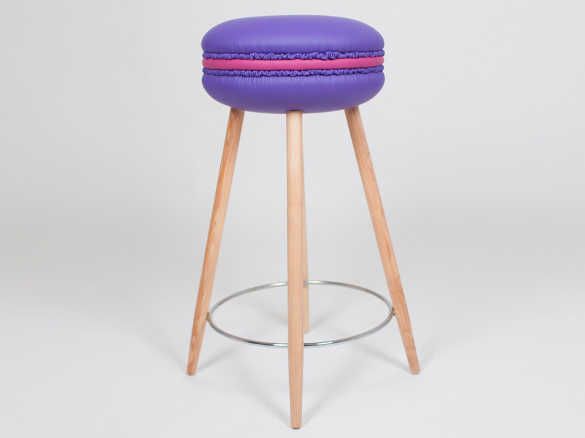 High upholstered imitation leather stool MAKASTOOL VIOLET L by LI VING