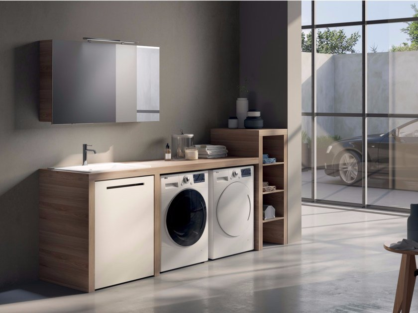 Sectional Laundry Room Cabinet With Mirror Make Wash 02 By Lasa Idea