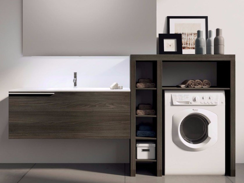 Sectional laundry room cabinet with mirror MAKE WASH 03 by LASA IDEA