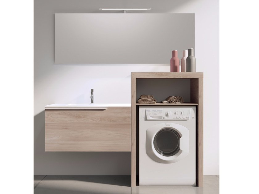 Sectional laundry room cabinet with mirror MAKE WASH 05 by LASA IDEA