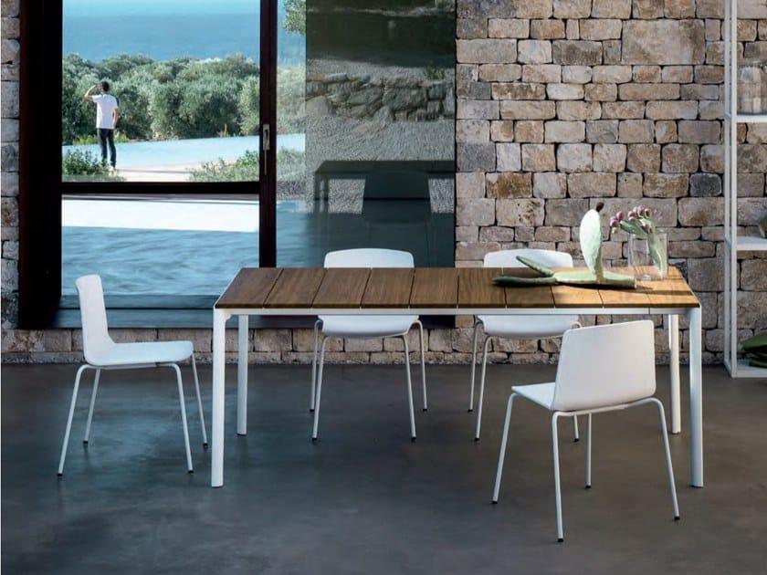 Extending rectangular teak garden table MAKI SLATTED by Kristalia