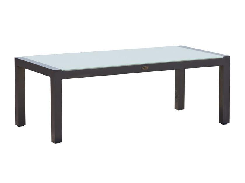 Tavolino basso rettangolare in alluminio e vetro MALDIVES 23184 by SKYLINE design