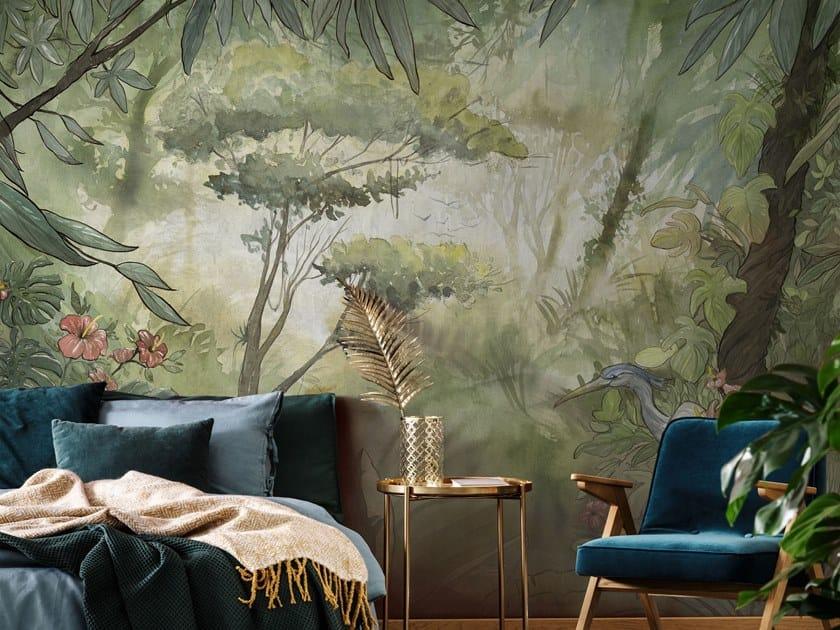 Tropical landscape nonwoven wallpaper MANAUS by Tecnografica Italian Wallcoverings