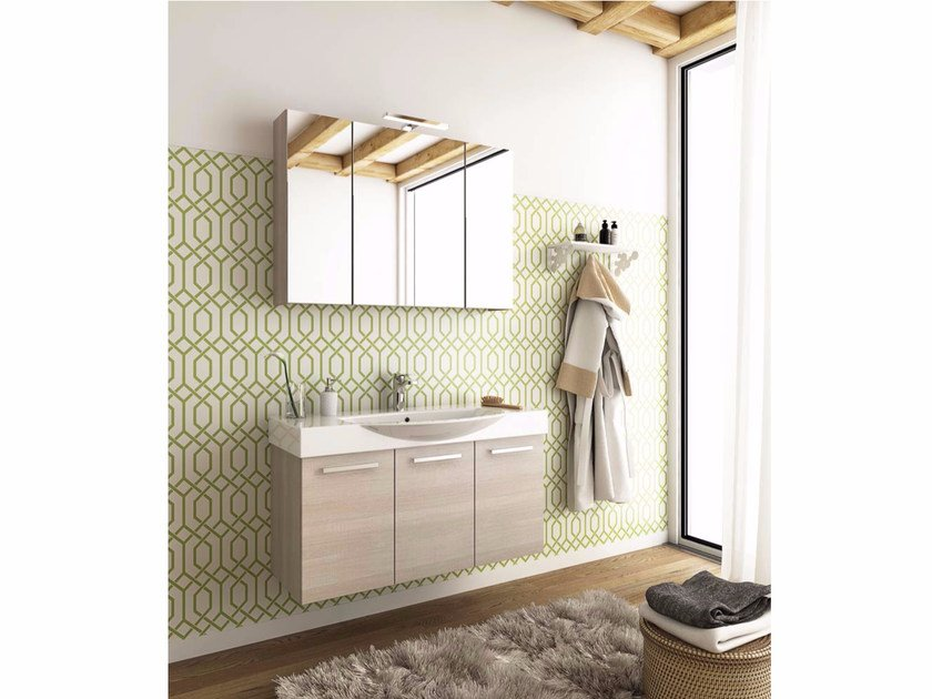 Wall-mounted wooden vanity unit with doors MANHATTAN M14 by LEGNOBAGNO