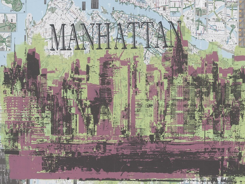 Landscape nonwoven wallpaper with map MANHATTAN by Tecnografica Italian Wallcoverings