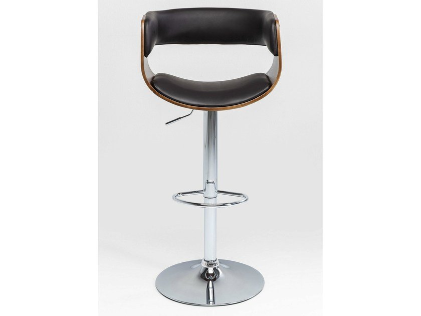 Upholstered height-adjustable barstool MANHATTAN WOOD | Stool by KARE-DESIGN