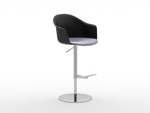 Height-adjustable polypropylene stool with footrest MÁNI ARMSHELL PLASTIC+f ST-ADJ by arrmet