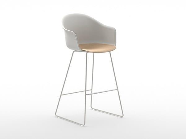 High sled base polypropylene stool with footrest MÁNI ARMSHELL PLASTIC+w ST-SL/ns by arrmet