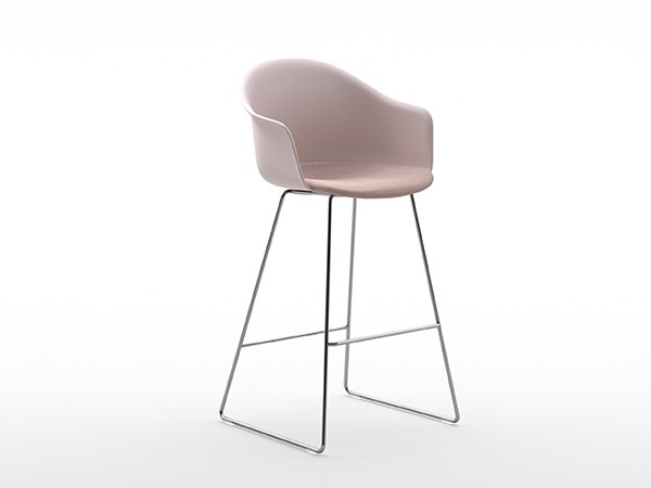 High sled base polypropylene stool with footrest MÁNI ARMSHELL PLASTIC+f ST-SL/ns by arrmet