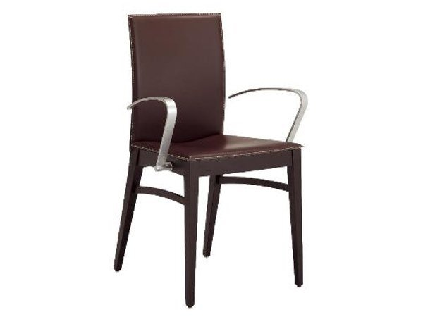 Leather chair with armrests MANILA   Chair with armrests by Cizeta L'Abbate